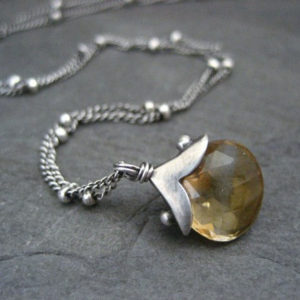 Genuine Citrine Necklace, Yellow Gemstone Pendant, November Birthstone, Oxidized Dotted Silver Chain, Handmade Silver Elements | Natural genuine Array jewelry. Buy crystal jewelry, handmade handcrafted artisan jewelry for women.  Unique handmade gift ideas. #jewelry #beadedjewelry #beadedjewelry #gift #shopping #handmadejewelry #fashion #style #product #jewelry #affiliate #ad