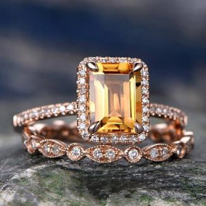 Shop Citrine Rings! Emerald Cut Citrine engagement ring set-Solid 14k rose gold-Real Diamond Wedding ring-2PC Stacking ring-gemstone-yellow birthstone halo ring | Natural genuine Citrine rings, simple unique alternative gemstone engagement rings. #rings #jewelry #bridal #wedding #jewelryaccessories #engagementrings #weddingideas #affiliate #ad