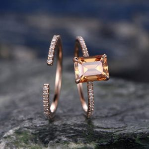 Shop Citrine Rings! Citrine engagement ring set-Solid 14k rose gold-handmade Diamond Wedding ring-2PC Stacking ring-6x8mm emerald cut gemstone-yellow birthstone | Natural genuine Citrine rings, simple unique alternative gemstone engagement rings. #rings #jewelry #bridal #wedding #jewelryaccessories #engagementrings #weddingideas #affiliate #ad