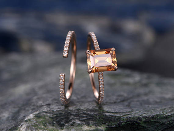 Citrine Engagement Ring Set-solid 14k Rose Gold-handmade Diamond Wedding Ring-2pc Stacking Ring-6x8mm Oval Cut Gemstone-yellow Birthstone