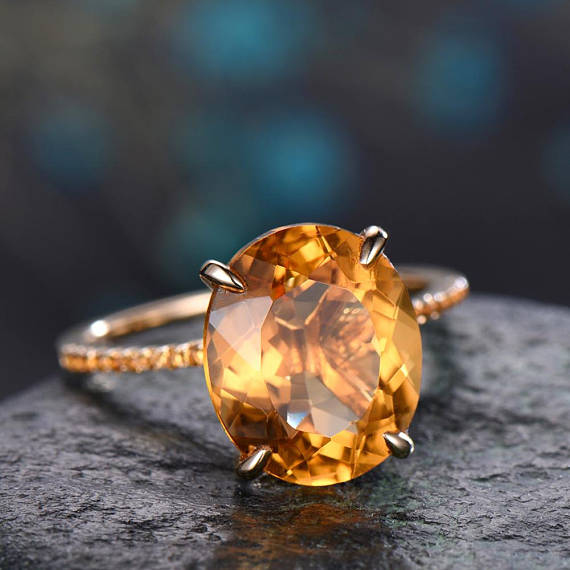 Citrine Engagement Ring Solid 14k Rose Gold Citrine Wedding Ring Band 10x12mm Oval Antique Unique November Birthstone Promise Bridal Ring