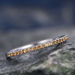 Shop Citrine Rings! Natural Citrine wedding ring-solid 14k white gold-handmade unique ring-half eternity-Petite 1.2mm Matching band-tiny stones promise ring | Natural genuine Citrine rings, simple unique alternative gemstone engagement rings. #rings #jewelry #bridal #wedding #jewelryaccessories #engagementrings #weddingideas #affiliate #ad