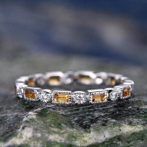 Shop Citrine Rings! Natural Citrine wedding ring-solid 14k white gold-handmade unique ring-full eternity emerald cut cirtrine Matching band-diamond promise ring | Natural genuine Citrine rings, simple unique alternative gemstone engagement rings. #rings #jewelry #bridal #wedding #jewelryaccessories #engagementrings #weddingideas #affiliate #ad