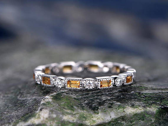 Natural Citrine Wedding Ring-solid 14k White Gold-handmade Unique Ring-full Eternity Emerald Cut Cirtrine Matching Band-diamond Promise Ring