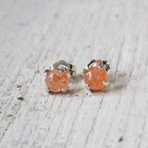 Shop Sunstone Earrings! Confetti Sunstone Studs, 5mm Tanzanian Confetti Sunstone Earrings, Small Studs | Natural genuine Sunstone earrings. Buy crystal jewelry, handmade handcrafted artisan jewelry for women.  Unique handmade gift ideas. #jewelry #beadedearrings #beadedjewelry #gift #shopping #handmadejewelry #fashion #style #product #earrings #affiliate #ad