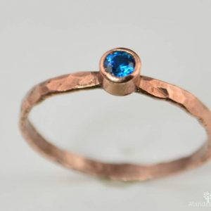 Copper Blue Zircon Ring, Classic Size, Blue Zircon Mother's Ring, Decembers Birthstone Ring, Copper Jewelry, Blue Zircon Ring, Pure Copper | Natural genuine Zircon rings, simple unique handcrafted gemstone rings. #rings #jewelry #shopping #gift #handmade #fashion #style #affiliate #ad
