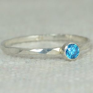 Dainty Blue Zircon Ring, Silver Blue Zircon Ring,  Stackable Ring, Mothers Ring, December Birthstone, December Ring, Skinny Ring, Thin Ring | Natural genuine Zircon rings, simple unique handcrafted gemstone rings. #rings #jewelry #shopping #gift #handmade #fashion #style #affiliate #ad