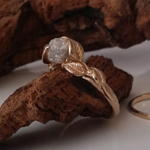 Shop Raw Diamond Engagement Rings! 14K Yellow Gold, Raw Diamond Engagement Ring with Band – Diamond Wedding Ring Set in 14K Yellow Gold Jewelry by Dawn Vertrees Jewelry | Natural genuine Diamond rings, simple unique alternative gemstone engagement rings. #rings #jewelry #bridal #wedding #jewelryaccessories #engagementrings #weddingideas #affiliate #ad