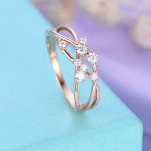 Shop Diamond Rings! Diamond Cluster ring Twig Engagement Ring Rose Gold Floral Unique Wedding Women Bridal Jewelry Twisted Flower Mini Promise Anniversary | Natural genuine Diamond rings, simple unique alternative gemstone engagement rings. #rings #jewelry #bridal #wedding #jewelryaccessories #engagementrings #weddingideas #affiliate #ad