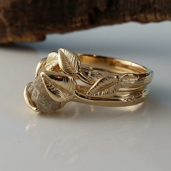 Leaf Bridal Set In 14k Gold, Raw Uncut Rough Diamond Engagement Ring, By Dawn Vertrees