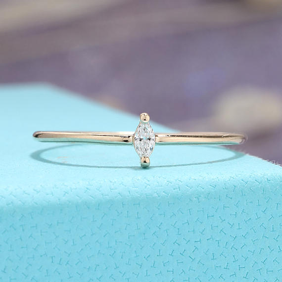Marquise Engagement Ring Solitaire Simple Engagement Ring Wedding 14k Gold Minimalist Stacking Diamond Promise Anniversary Knuckle Everyday