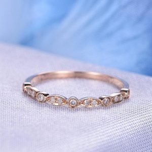 Shop Diamond Jewelry! Natural Diamond Wedding Ring Anniversary Ring Art Deco Antique 14k Rose Gold Marquise Eternity Band Personalized for her/him Custom Ring | Natural genuine Diamond jewelry. Buy handcrafted artisan wedding jewelry.  Unique handmade bridal jewelry gift ideas. #jewelry #beadedjewelry #gift #crystaljewelry #shopping #handmadejewelry #wedding #bridal #jewelry #affiliate #ad