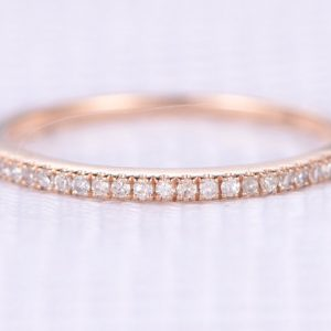 Shop Diamond Rings! Natural Diamond Wedding Ring Anniversary Ring 1.2mm Width Solid 14k Rose Gold Half Eternity Matching Band Personalized for her/him Custom | Natural genuine Diamond rings, simple unique alternative gemstone engagement rings. #rings #jewelry #bridal #wedding #jewelryaccessories #engagementrings #weddingideas #affiliate #ad