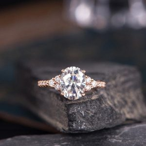 Shop Diamond Jewelry! Oval Cut Moissanite Engagement Ring Rose Gold Solitaire Cluster Diamond Women Bridal Anniversary Pave Handmade Ring Half Eternity | Natural genuine Diamond jewelry. Buy handcrafted artisan wedding jewelry.  Unique handmade bridal jewelry gift ideas. #jewelry #beadedjewelry #gift #crystaljewelry #shopping #handmadejewelry #wedding #bridal #jewelry #affiliate #ad