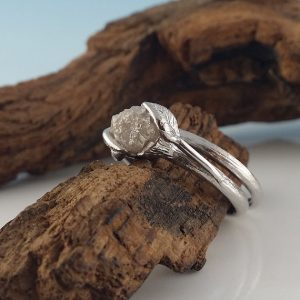 Twig and Leaf Engagement Ring, Hand Sculpted Solid Gold, Rough Diamond Bridal Set, Hand Sculpted Rings by Dawn Vertrees Jewelry | Natural genuine Gemstone rings, simple unique alternative gemstone engagement rings. #rings #jewelry #bridal #wedding #jewelryaccessories #engagementrings #weddingideas #affiliate #ad