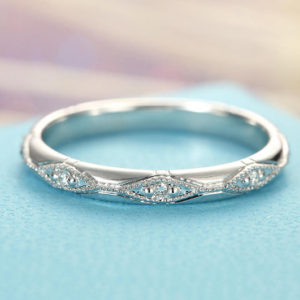 Shop Diamond Rings! Diamond Wedding Band Women white gold Vintage Art Deco Eternity Milgrain Bridal Dainty Stacking Antique Alternative Stackable Promise | Natural genuine Diamond rings, simple unique alternative gemstone engagement rings. #rings #jewelry #bridal #wedding #jewelryaccessories #engagementrings #weddingideas #affiliate #ad