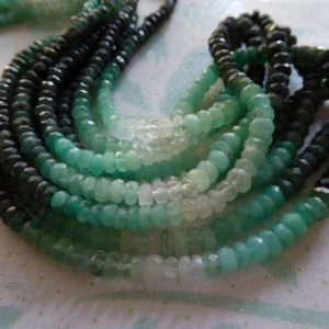 Shop Emerald Faceted Beads! Emerald Rondelles Beads, 3-3.5 mm, Luxe AA, Shaded Green Emerald Gems Gemstones, Faceted May Birthstone tr e 35 | Natural genuine faceted Emerald beads for beading and jewelry making.  #jewelry #beads #beadedjewelry #diyjewelry #jewelrymaking #beadstore #beading #affiliate #ad