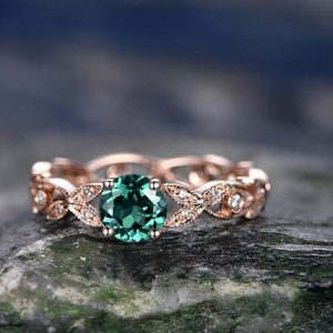 Shop Emerald Engagement Rings! 5mm emerald engagement ring rose gold emerald ring vintage full eternity diamond ring May birthstone unique gift bridal wedding promise ring | Natural genuine Emerald rings, simple unique alternative gemstone engagement rings. #rings #jewelry #bridal #wedding #jewelryaccessories #engagementrings #weddingideas #affiliate #ad