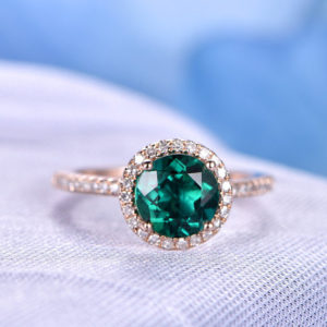 Emerald Engagement Ring Rose Gold 7mm Round Green Stone Diamond Bridal Ring Wedding Ring Ball Prong Personalized for her/him Custom Ring | Natural genuine Gemstone rings, simple unique alternative gemstone engagement rings. #rings #jewelry #bridal #wedding #jewelryaccessories #engagementrings #weddingideas #affiliate #ad