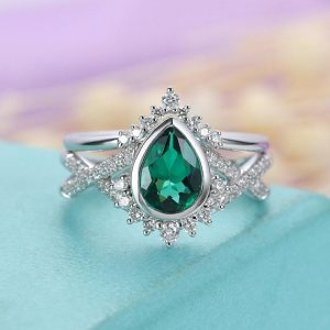 Shop Emerald Engagement Rings! Emerald Engagement Ring Set Diamond / moissanite Wedding Band Women White Gold Pear Shaped Gift For Her Anniversary Twisted Band Stacking | Natural genuine Emerald rings, simple unique alternative gemstone engagement rings. #rings #jewelry #bridal #wedding #jewelryaccessories #engagementrings #weddingideas #affiliate #ad