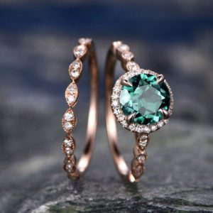 Shop Emerald Engagement Rings! 2pcs emerald engagement ring set emerald ring rose gold bridal set diamond halo ring May birthstone marquise stacking wedding ring band | Natural genuine Emerald rings, simple unique alternative gemstone engagement rings. #rings #jewelry #bridal #wedding #jewelryaccessories #engagementrings #weddingideas #affiliate #ad