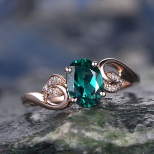 Oval green emerald engagement ring 14k rose gold handmade May birthstone diamond ring unique floral design gift wedding bridal antique ring | Natural genuine Gemstone rings, simple unique alternative gemstone engagement rings. #rings #jewelry #bridal #wedding #jewelryaccessories #engagementrings #weddingideas #affiliate #ad