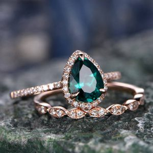 Shop Healing Gemstone Rings! Green emerald engagement ring set rose gold emerald ring vintage diamond halo ring May birthstone ring 2pcs wedding ring set promise ring | Natural genuine Gemstone rings, simple unique alternative gemstone engagement rings. #rings #jewelry #bridal #wedding #jewelryaccessories #engagementrings #weddingideas #affiliate #ad