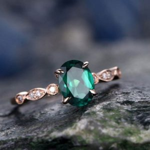 Green emerald engagement ring solid 14k rose gold 6x8mm oval cut emerald ring gold vintage art deco diamond ring bridal wedding promise ring | Natural genuine Gemstone rings, simple unique alternative gemstone engagement rings. #rings #jewelry #bridal #wedding #jewelryaccessories #engagementrings #weddingideas #affiliate #ad