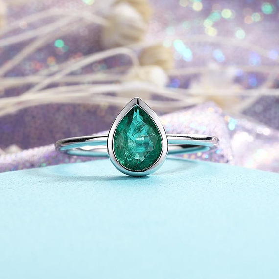 Simple Pear Shaped Emerald Engagement Ring Wedding Solitaire Bezel Set Birthstone Minimalist 14k White Gold Women Gift For Her Anniversary