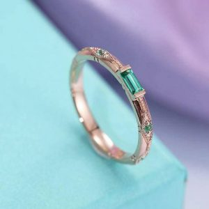 Shop Emerald Engagement Rings! Vintage Emerald Wedding Band Engagement ring Rose Gold band Unique Bridal Band Art Deco Milgrain Stacking Matching band Anniversary Band | Natural genuine Emerald rings, simple unique alternative gemstone engagement rings. #rings #jewelry #bridal #wedding #jewelryaccessories #engagementrings #weddingideas #affiliate #ad