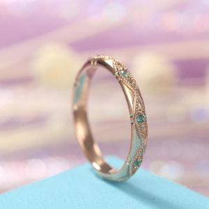 Shop Healing Gemstone Rings! Vintage Emerald wedding band Rose Gold band Unique straight band Milgrain band, Art Deco band matching band Stacking band | Natural genuine Gemstone rings, simple unique alternative gemstone engagement rings. #rings #jewelry #bridal #wedding #jewelryaccessories #engagementrings #weddingideas #affiliate #ad