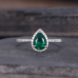 Shop Emerald Engagement Rings! Lab Emerald Engagement Ring Pear Shaped Diamond Halo Rose Gold May Birthstone Half Eternity Women Anniversary Ring Bridal Wedding | Natural genuine Emerald rings, simple unique alternative gemstone engagement rings. #rings #jewelry #bridal #wedding #jewelryaccessories #engagementrings #weddingideas #affiliate #ad