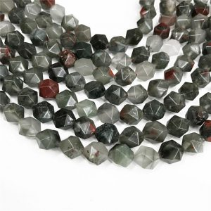 Shop Bloodstone Beads! Faceted Africa Bloodstone Beads, Star Cut Beads, Gemstone Beads, 8mm, 10mm | Natural genuine faceted Bloodstone beads for beading and jewelry making.  #jewelry #beads #beadedjewelry #diyjewelry #jewelrymaking #beadstore #beading #affiliate