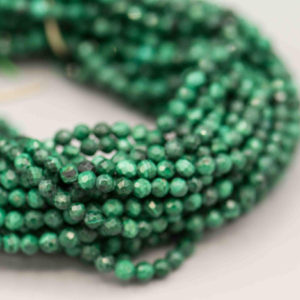"Shop Malachite Round Beads! Faceted Round Malachite 3mm 124 Beads on 16"" Strand SKU-GM-70-M 