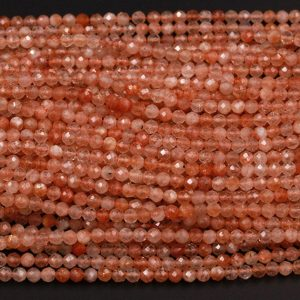 "AAA Natural Sunstone Round Beads Faceted 2mm 3mm 4mm 5mm Orange Gold Gemstone 15.5"" Strand 