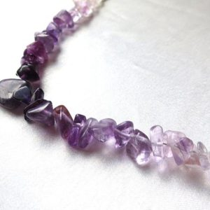 Shop Fluorite Necklaces! Long purple fluorite ombré necklace. Minimalist style gemstone jewelry. Great for layering. Pantone Ultra Violet, color of the year, 2018 | Natural genuine Fluorite necklaces. Buy crystal jewelry, handmade handcrafted artisan jewelry for women.  Unique handmade gift ideas. #jewelry #beadednecklaces #beadedjewelry #gift #shopping #handmadejewelry #fashion #style #product #necklaces #affiliate #ad