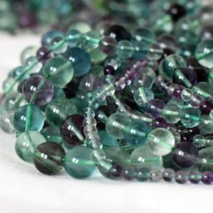 "Shop Fluorite Beads! High Quality Grade AA Natural Rainbow Fluorite Semi-precious Gemstone Round Beads – 4mm, 6mm, 8mm, 10mm sizes – Approx 15.5"" strand 