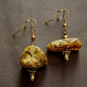 Shop Amber Earrings! Free form asymmetrical amber earrings 26x21mm  (ear 9) | Natural genuine Amber earrings. Buy crystal jewelry, handmade handcrafted artisan jewelry for women.  Unique handmade gift ideas. #jewelry #beadedearrings #beadedjewelry #gift #shopping #handmadejewelry #fashion #style #product #earrings #affiliate #ad