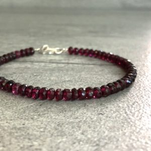 Garnet Bead Bracelet | Red Gemstone Bracelet | Gold or Sterling Silver January Birthstone Jewelry | Women's, Men's Bracelet | Natural genuine Garnet bracelets. Buy crystal jewelry, handmade handcrafted artisan jewelry for women.  Unique handmade gift ideas. #jewelry #beadedbracelets #beadedjewelry #gift #shopping #handmadejewelry #fashion #style #product #bracelets #affiliate #ad