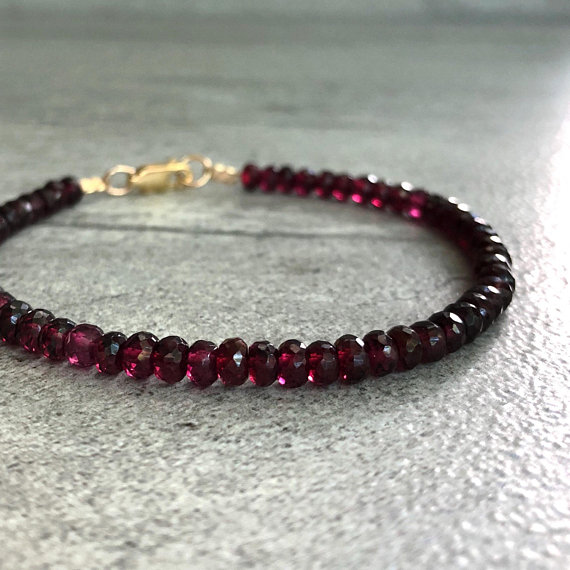 Genuine Garnet Bracelet | Gold Or Silver Bracelet For Women, Men | Natural Crystal Faceted Garnet Jewelry | January Birthstone Jewelry