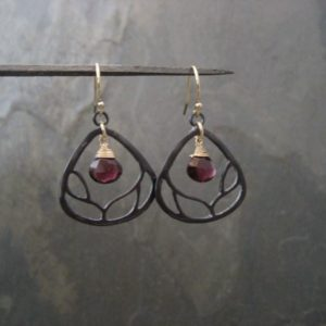 Shop Garnet Earrings! Branch Earrings With Garnet – Black Sterling Silver And Goldfilled | Natural genuine Garnet earrings. Buy crystal jewelry, handmade handcrafted artisan jewelry for women.  Unique handmade gift ideas. #jewelry #beadedearrings #beadedjewelry #gift #shopping #handmadejewelry #fashion #style #product #earrings #affiliate #ad