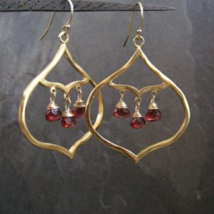 Garnet Chandelier,  Red Earrings, Garnet Dangle, Gemstone Chandelier, Drop Earrings, Evening Earrings, Faceted Garnet, Valentine Earrings | Natural genuine Array jewelry. Buy crystal jewelry, handmade handcrafted artisan jewelry for women.  Unique handmade gift ideas. #jewelry #beadedjewelry #beadedjewelry #gift #shopping #handmadejewelry #fashion #style #product #jewelry #affiliate #ad