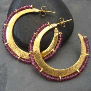 Shop Garnet Jewelry! Garnet hoop earrings, crescent hoops, moon shape, garnet gemstone, beaded hoops, dark pink, medium size, textured hoops | Natural genuine Garnet jewelry. Buy crystal jewelry, handmade handcrafted artisan jewelry for women.  Unique handmade gift ideas. #jewelry #beadedjewelry #beadedjewelry #gift #shopping #handmadejewelry #fashion #style #product #jewelry #affiliate #ad