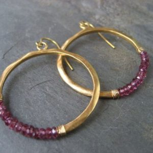 Shop Garnet Jewelry! Garnet hoops, rhodolite garnet, circle earrings, beaded hoops, circle dangle, gold hoops, wire wrapped hoops, handmade | Natural genuine Garnet jewelry. Buy crystal jewelry, handmade handcrafted artisan jewelry for women.  Unique handmade gift ideas. #jewelry #beadedjewelry #beadedjewelry #gift #shopping #handmadejewelry #fashion #style #product #jewelry #affiliate #ad