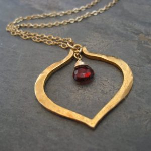 Shop Garnet Pendants! Lotus Heart Rhodolite Garnet Necklace- Heavy Vermeil Pendant And Goldfilled Chain | Natural genuine gemstone jewelry in modern, chic, boho, elegant styles. Buy crystal handmade handcrafted artisan art jewelry & accessories. #jewelry #beaded #beadedjewelry #product #gifts #shopping #style #fashion #product