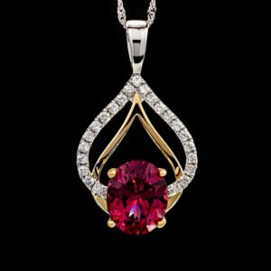 Shop Garnet Pendants! Natural Genuine Raspberry Garnet Oval Solitaire with Diamonds 14k Solid Yellow & White Gold Pendant – With or Without Chain | Natural genuine Garnet pendants. Buy crystal jewelry, handmade handcrafted artisan jewelry for women.  Unique handmade gift ideas. #jewelry #beadedpendants #beadedjewelry #gift #shopping #handmadejewelry #fashion #style #product #pendants #affiliate #ad