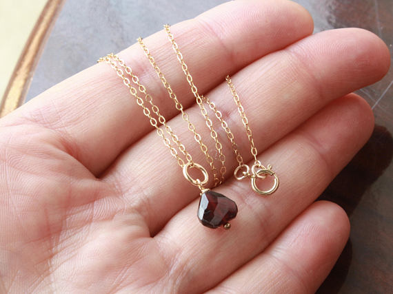 Garnet Gold Filled Necklace Wire Wrapped Deep Red Gemstone Dainty Pendant Charm January Birthstone Mothers Day Gift For Her Mom Wife 4480