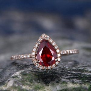 Shop Garnet Rings! Garnet engagement ring-Solid 14k rose gold-handmade Fine halo Diamond Bridal ring-Stacking band-6x8mm tear droped cut gemstone promise ring | Natural genuine Garnet rings, simple unique alternative gemstone engagement rings. #rings #jewelry #bridal #wedding #jewelryaccessories #engagementrings #weddingideas #affiliate #ad