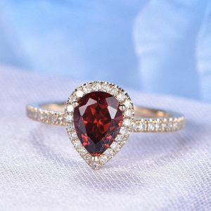 Natural Garnet Ring Pear Shaped Diamond Engagement Ring 6X8mm Stone Half Eternity Diamond Band Stacking Style Bridal Ring 14k Rose Gold | Natural genuine Array rings, simple unique alternative gemstone engagement rings. #rings #jewelry #bridal #wedding #jewelryaccessories #engagementrings #weddingideas #affiliate #ad