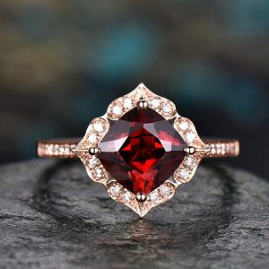Red Natural Garnet Engagement Ring-solid 14k Rose Gold-handmade Diamond Wedding Ring Band -stacking Ring-7mm Cushion Shape Gemstone-floral | Natural genuine Array jewelry. Buy handcrafted artisan wedding jewelry.  Unique handmade bridal jewelry gift ideas. #jewelry #beadedjewelry #gift #crystaljewelry #shopping #handmadejewelry #wedding #bridal #jewelry #affiliate #ad